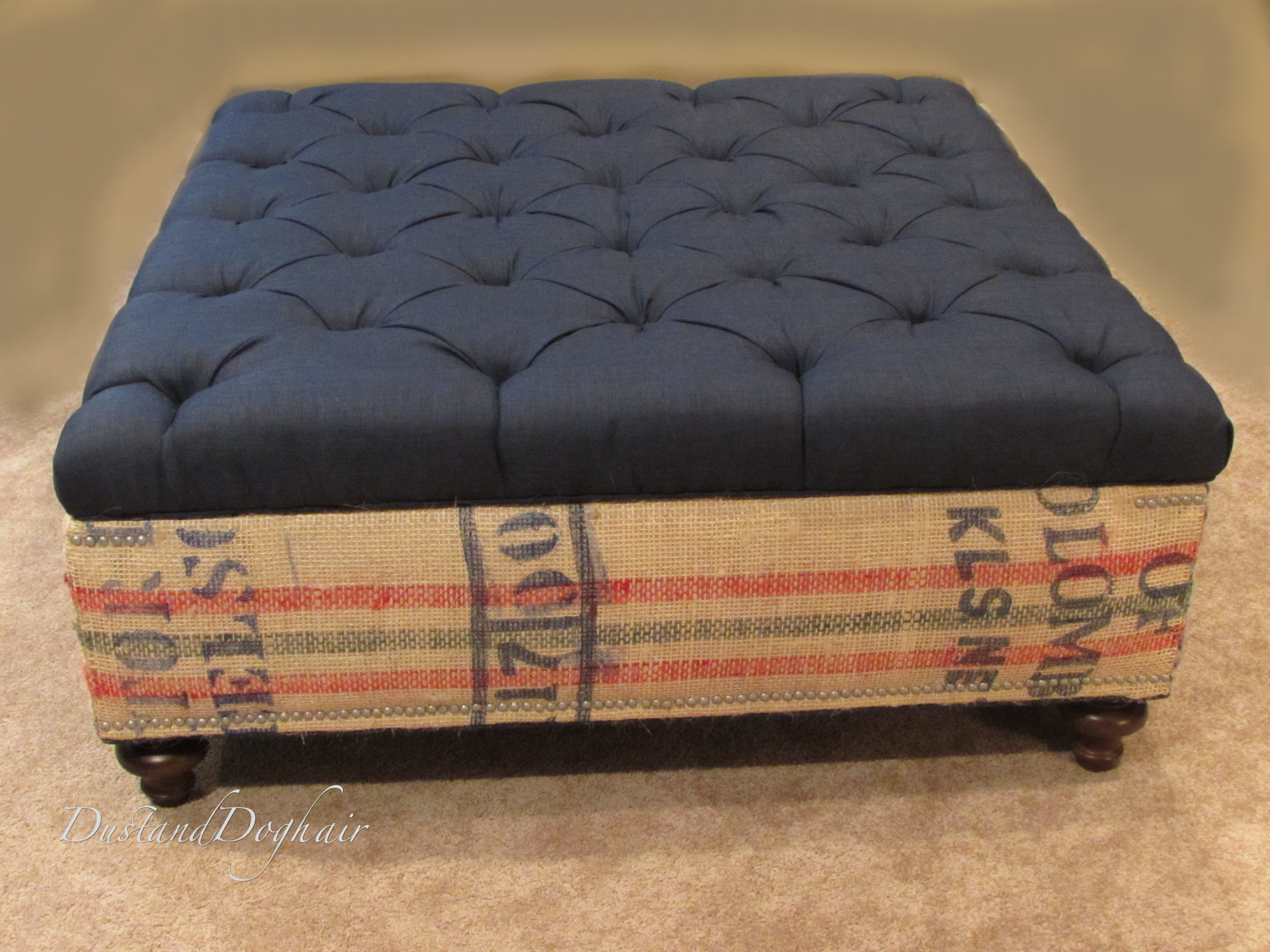 diy tufted top storage ottoman with repurposed coffee sacks diy tufted top storage ottoman with repurposed coffee sacks dustanddoghair com