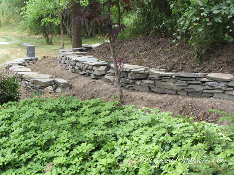 Building Landscape Stone : Diy stacked stone retaining wall part dustanddoghair
